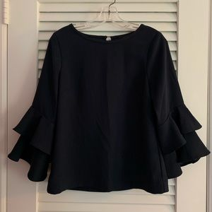 J.Crew Tiered Bell Sleeve Blouse in Drapey Crepe
